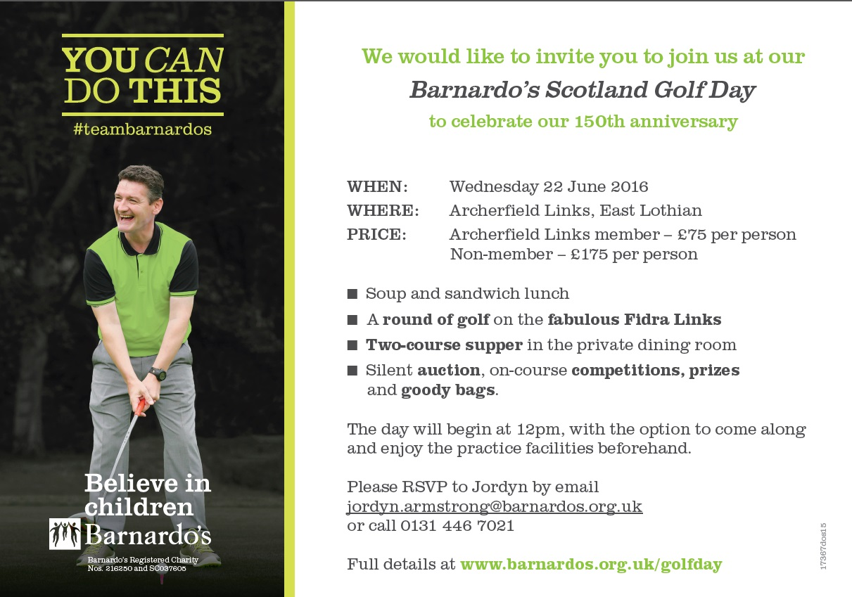 Barnardo's Scotland Golf Day invitation -2016