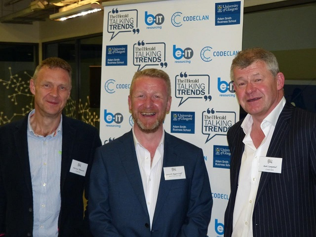 Be-IT Resourcing managing director Gareth Biggerstaff (centre) with Harvey Wheaton, Chief Executive Officer (left) and Rab Campbell, Director Employer Engagement, of CodeClan