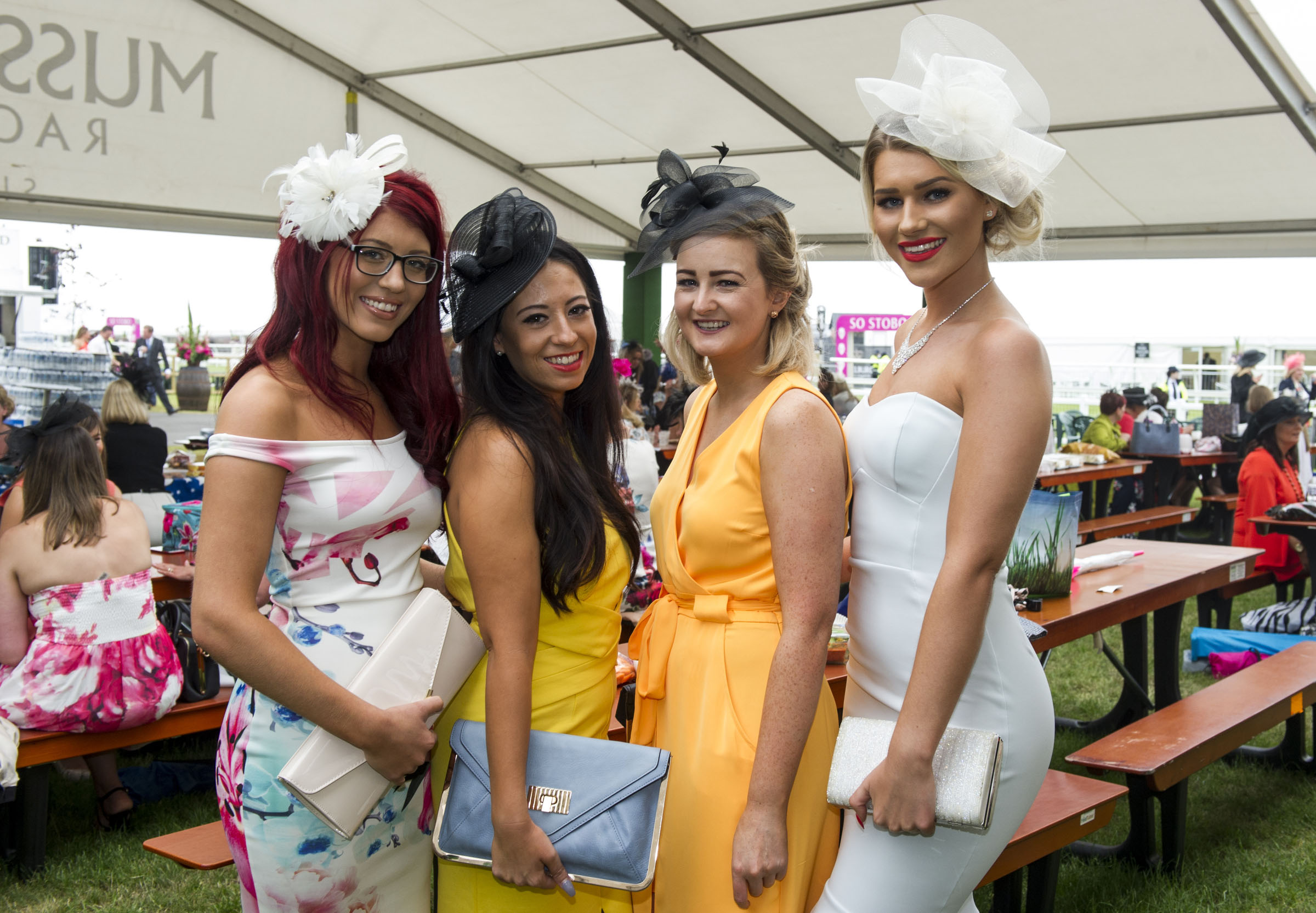 Musselburgh Racecourse Stobo Castle Ladies Day 2016. Pic shows l to r: Abbey Dove. Sarah Reid. Alics Easton. Kim Scott.