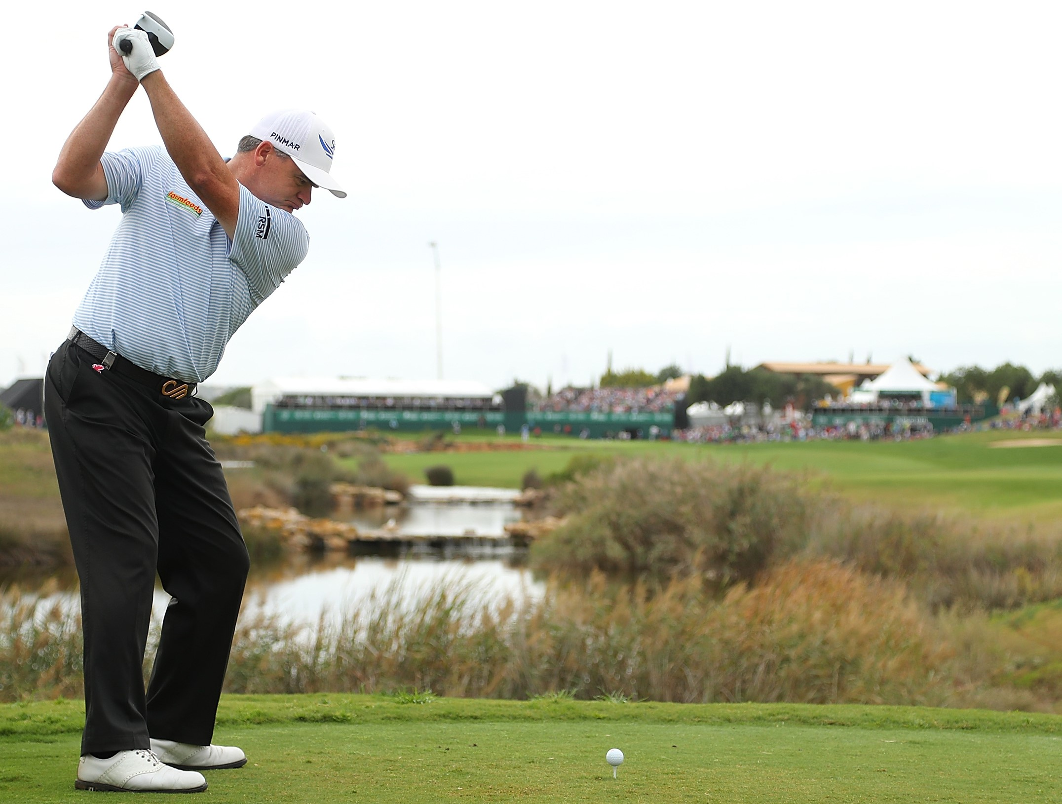 VILAMOURA, PORTUGAL - OCTOBER 23:  Paul Lawrie of Scotland tees off on the 18th hole during day four of the Portugal Masters at Victoria Clube de Golfe on October 23, 2016 in Vilamoura, Portugal.  (Photo by Richard Heathcote/Getty Images)