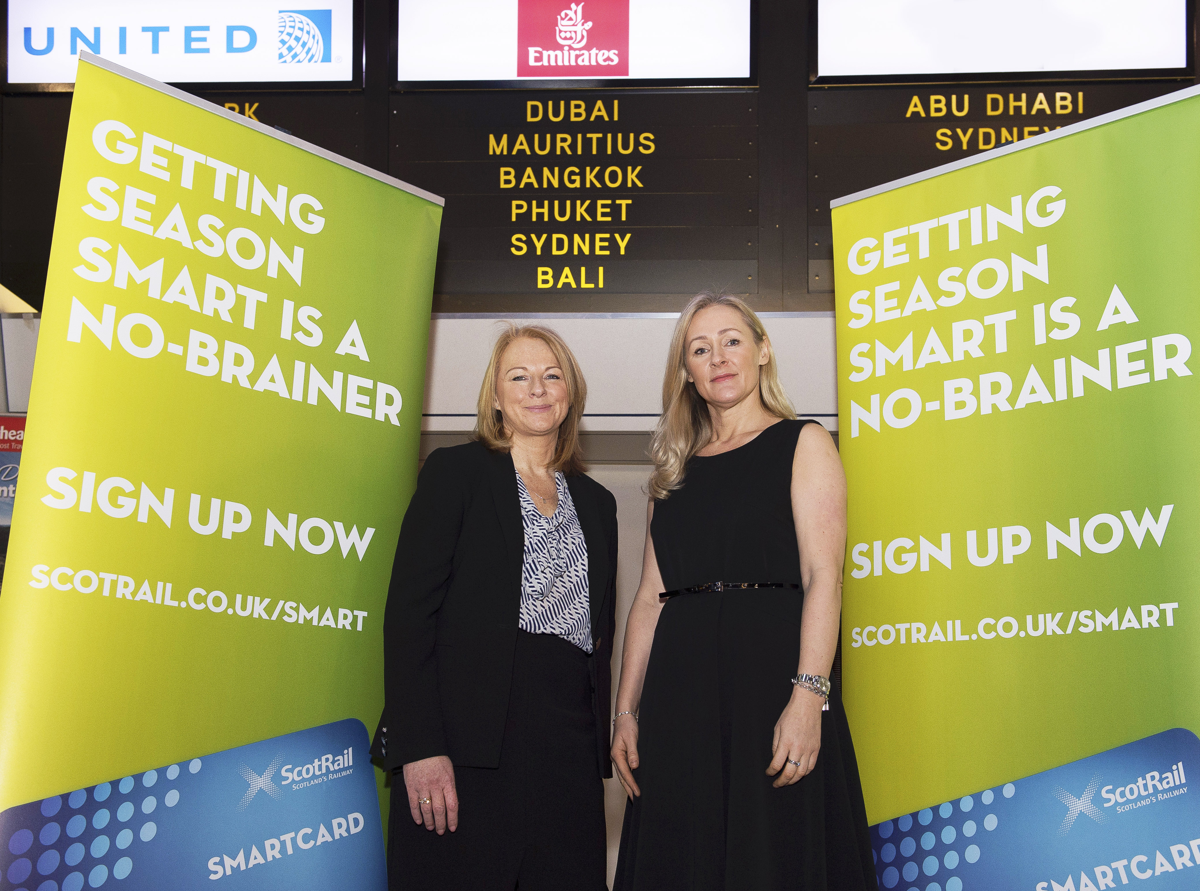 09/02/17 - 17020903 - ABELLIO SCOTRAIL    GLASGOW    Abellio ScotRail's Cathy Craig (L) and Barrhead Travel's Karen Breen at the launch of Abellio ScotRail's SmartCard Benefits Package.
