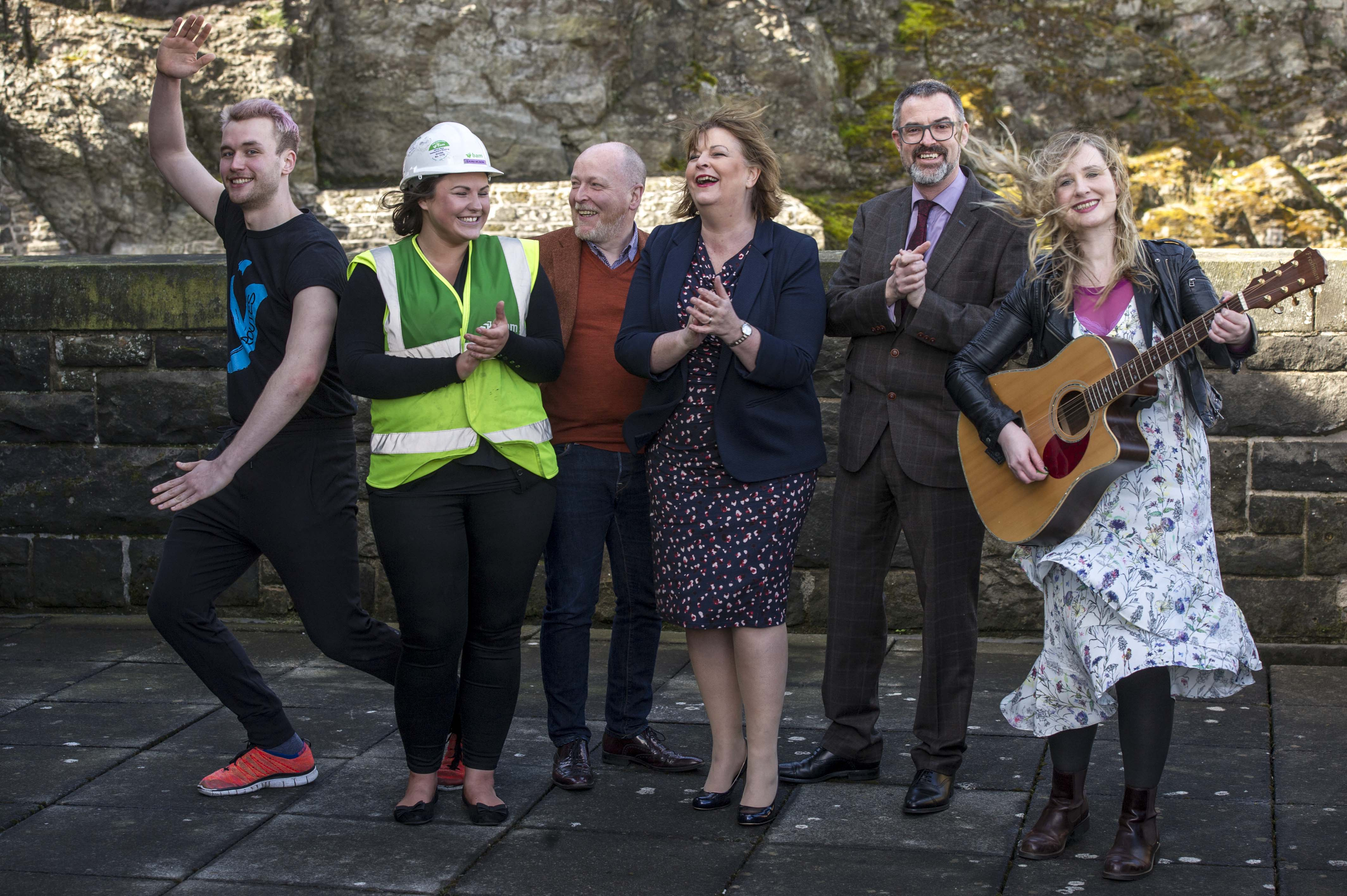 EMBARGOED UNTIL 00:01 3 APRIL 2017 FREE TO USE FREE TO USE FRRE TO USE Pictured: Sam Beckett, Y Dance, Laura Wilson, BAM construction, David Watt, Chief Executive Arts and Business Scotland, Fiona Hyslop, Brian Inkster, Inkster Solicitors, and Lousie Quinn, Tromolo Productions On Friday, Culture Secretary Fiona Hyslop visited Edinburgh Castle and launched the Culture & Business Fund Scotland. Funded by the Scottish Government via Creative Scotland and Historic Environment Scotland the fund will encourage the development of arts, heritage and business partnerships Ger Harley | EEm 31 March 2017