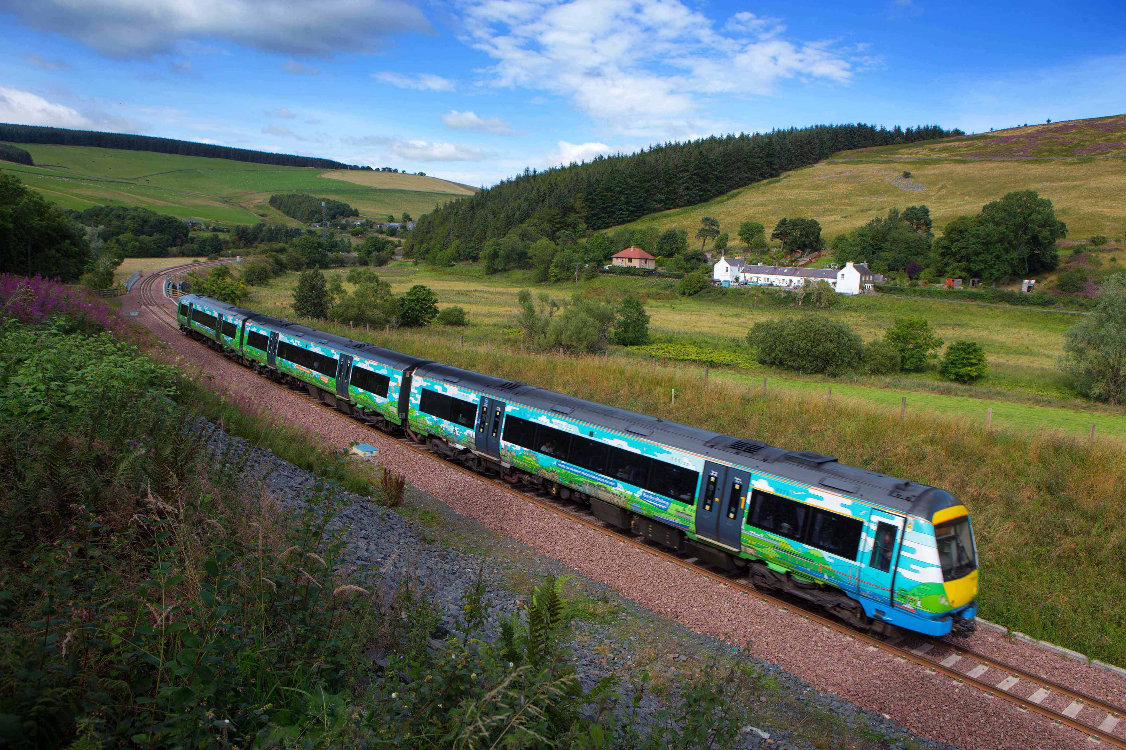 Borders Railway Train passing through Galabank For more details see press release Pic Peter Devlin