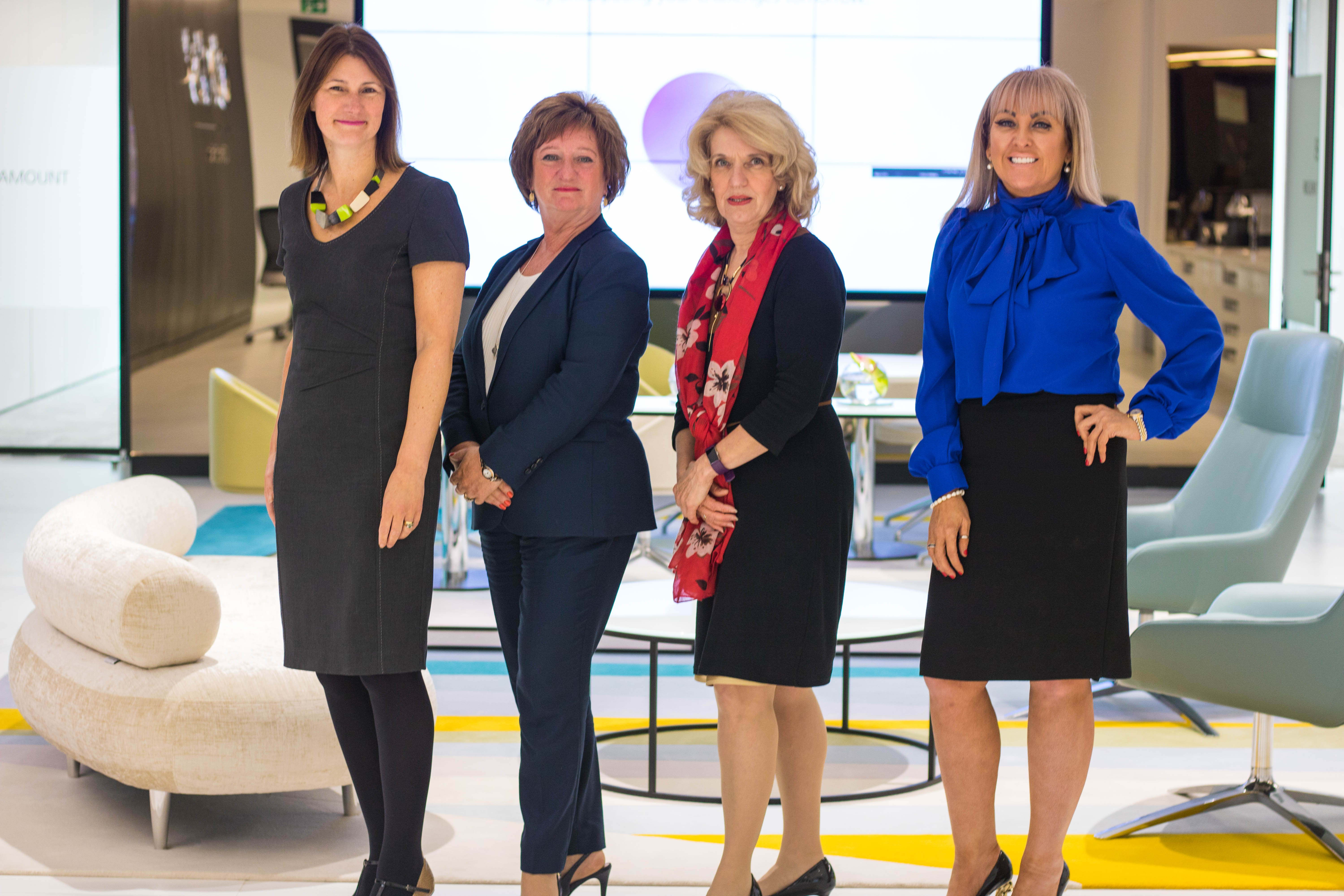 L to R Carolyn Currie, Liz Cameron OBE, Jeanette Forbes, Marie Macklin C...