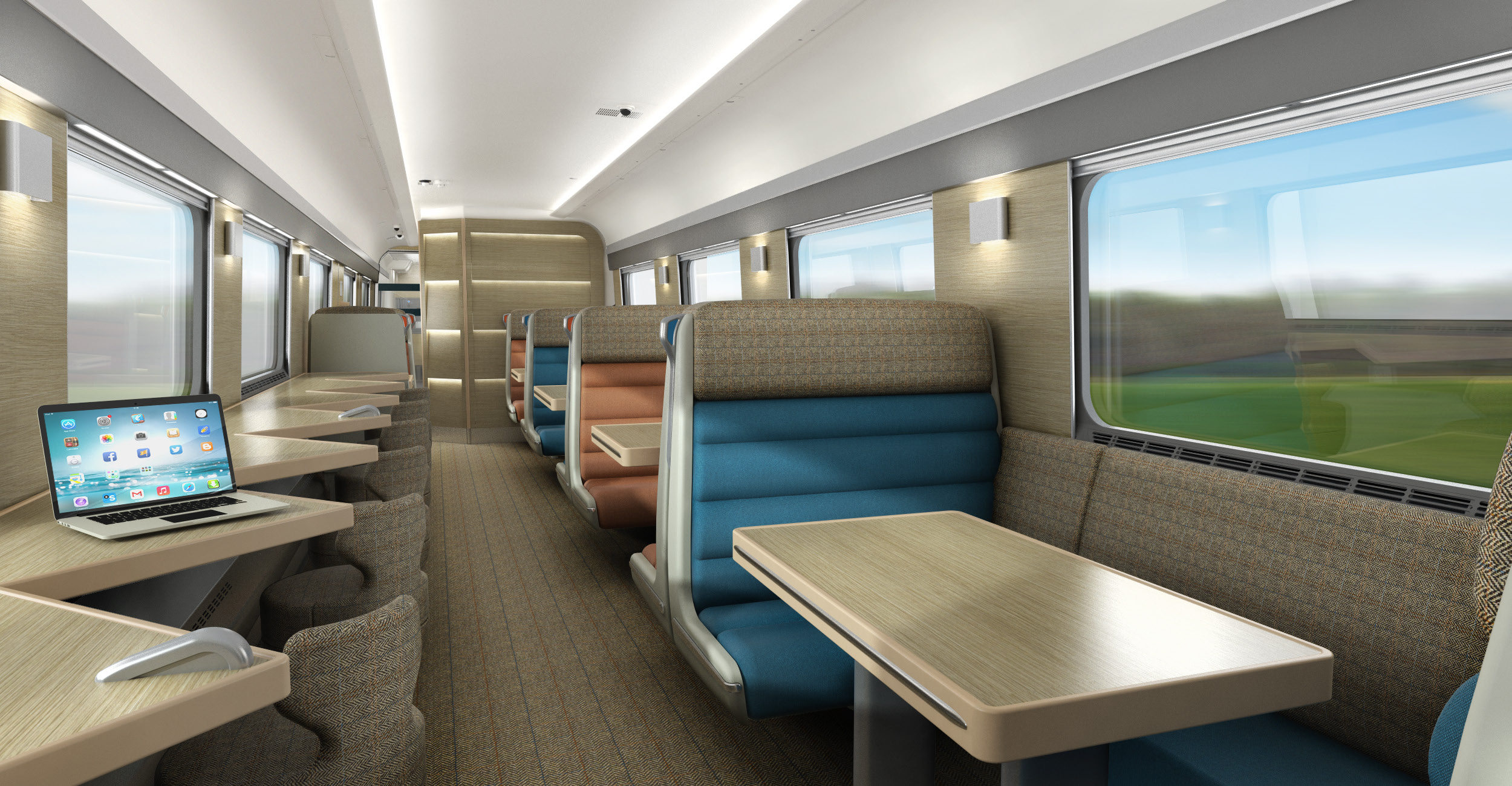 CGI of Club Car in the new Caledonian Sleeper