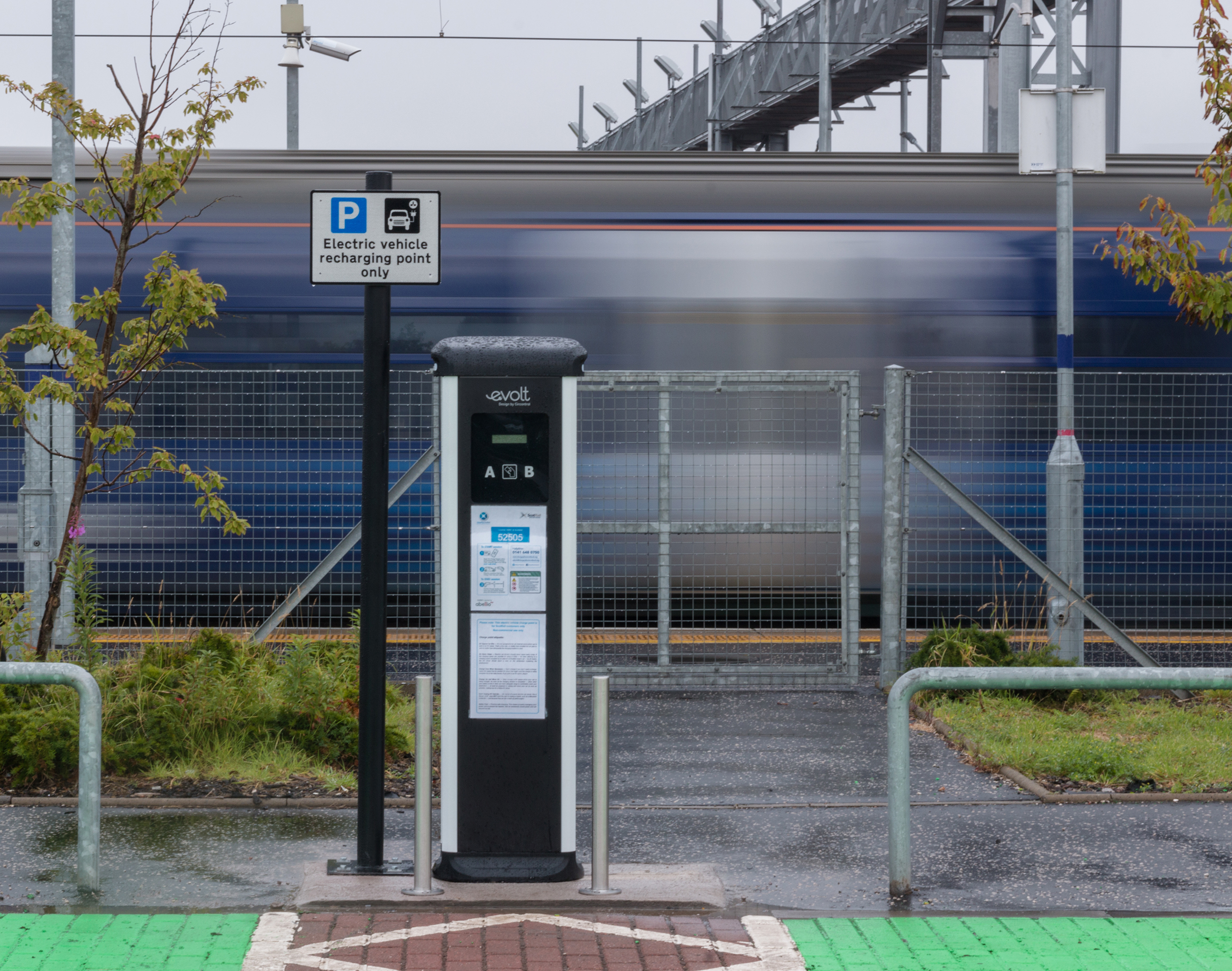 Electric car charger at Bathgate station
