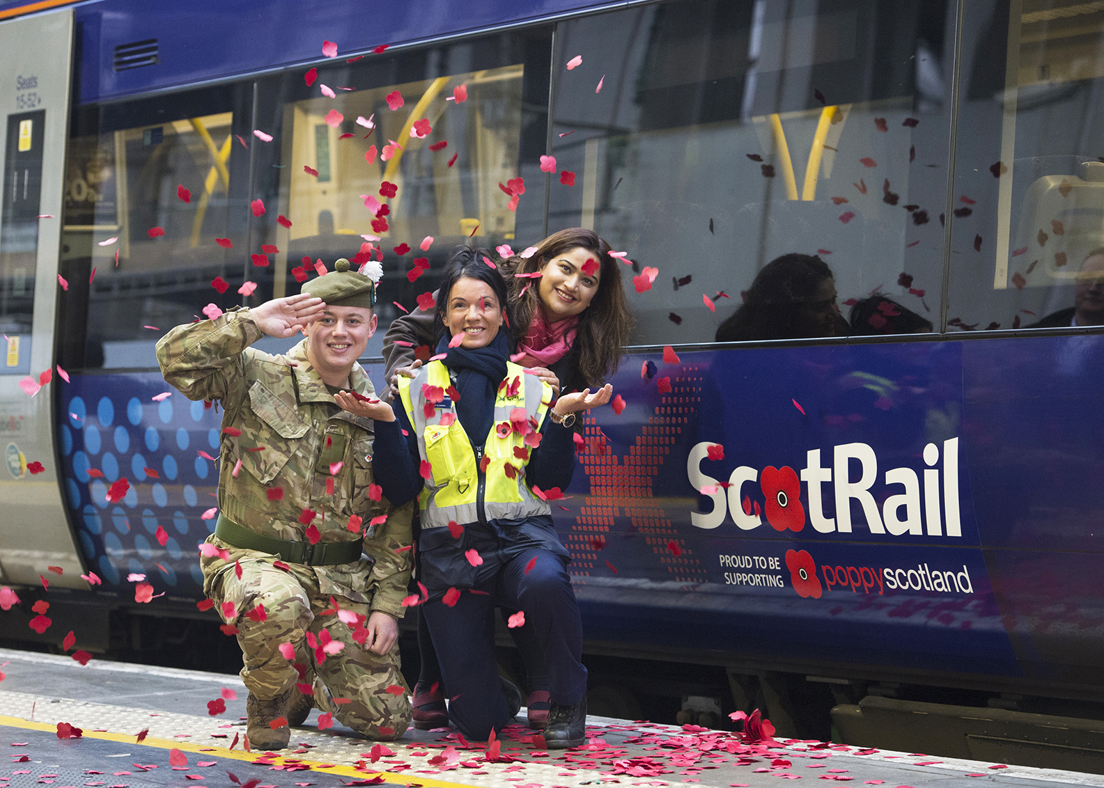 06/11/17 - 17110601 - ABELLIO SCOTRAIL  QUEEN STREET STATION - GLASGOW  Poppy Trains Launch  Fusilier Stewart Casey, Kelly Walker, Sayid Gaufran