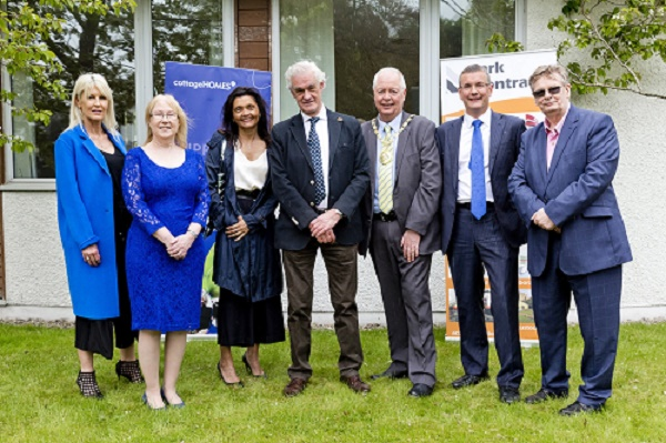 Crookfur Estate, Crookfur, South Glasgow 8.5.18 Patricia Fraser (blue coat, black outfit), daughter of Sir Hugh Fraser at the ground breaking and plaque unveiling cerermonies today with Michael Scanlan (dark blue suit, dark blue tie), Director Clark Contracts. Free Use Clark Contracts. More info from Lindsey Mcilwraith Marketing Co-ordinator Clark Contracts DD: 0141 847 8729 M: 07525908669 lindsey.mcilwraith@clarkcontracts.com Picture Copyright: Iain McLean, 79 Earlspark Avenue, Glasgow G43 2HE 07901 604 365 photomclean@googlemail.com www.iainmclean.com All Rights Reserved No Syndication Free for editorial use by third parties only in connection with the commissioning client's press-released story. All other rights are reserved.
