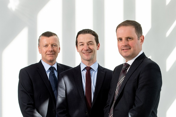 Aberdeen, Scotland, Thursday 10th May 2018 Landlord Conference Launch. Pictured is (right)Adrian Sangster, Aberdein Considine Leasing Director, (left)Stuart Petrie, Senior Manager and Derek Mitchell, Partner at Anderson Anderson & Brown LLP. Picture by Abermedia