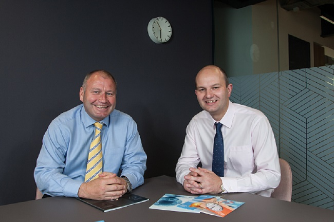 From left: Ricky Cowan and Douglas Martin, Chief Financial Officer, Anderson Anderson & Brown. Spaces, One Lochrin Square, Fountainbridge, Edinburgh. 30 May 2018. © Copyright photograph by Tina Norris. Contact Tina on 07775 593 830 info@tinanorris.co.uk www.tinanorris.co.uk http://tinanorris.photoshelter.com