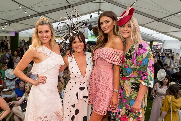 Ladies Day 2 June 2018 Ashley Roberts with Mari Reid, winner of the Queen of Style and fashion judges Nicola Mimnagh and Haley Daines Picture: Alan Rennie